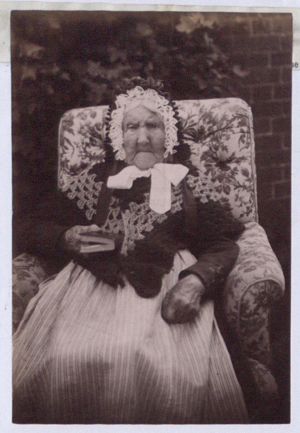Photograph of Mrs Banton, 'The Tickenhall Centenarian', seated, Derbyshire, 1891 (COPY 1/405 f.324)