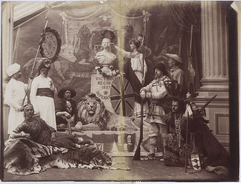 Tableau [a posed scene with costumed actors] of the British Empire, 1897 (COPY 1/380 f.410)