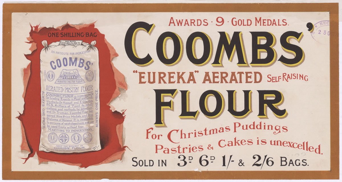 Advert for Coombs' flour, 1897 (COPY 1/136 f.122)