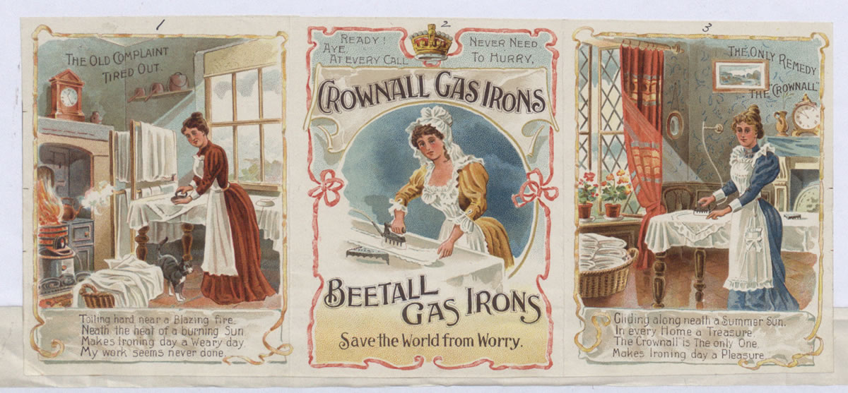 Advert for a gas iron, showing women's duties, 1901. The first panel shows ironing in the 'old way', with two further panels showing a new gas iron (COPY 1/180 f.80)