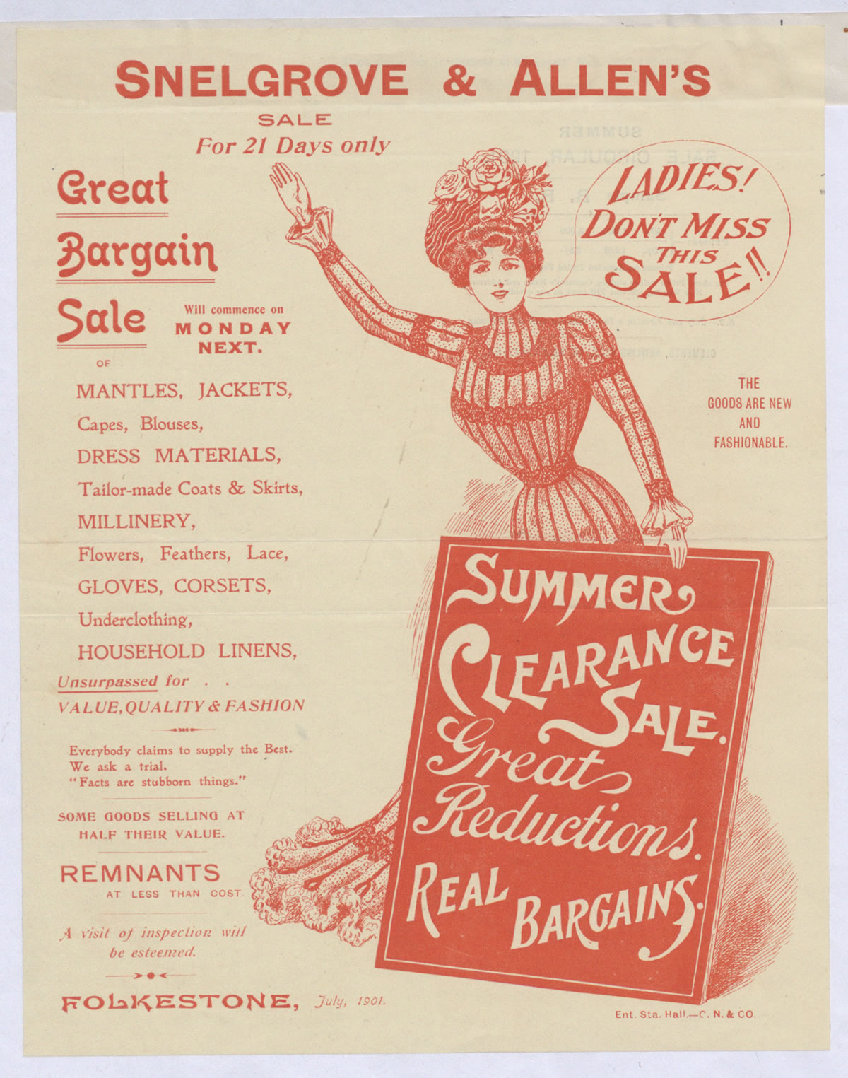 Advert for a clothing sale at Snelgrove and Allen, which lists the types of clothes on sale, 1901 (COPY 1/180 f.204)