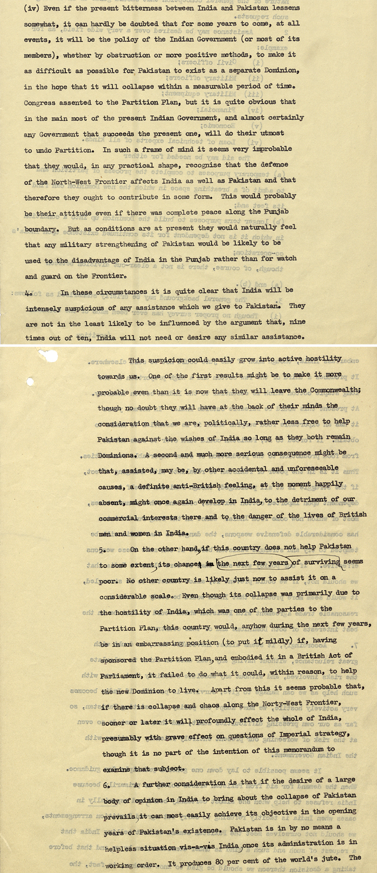 Analysis from British government on likely future relations between India and Pakistan, 20th October 1947 (DO 121/69)