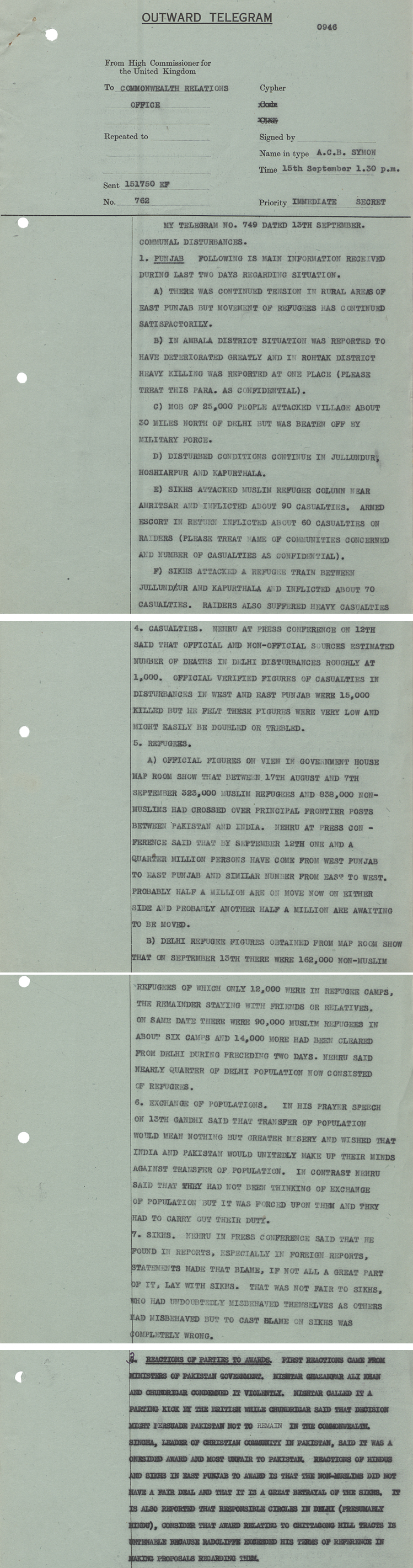 Report on developing partition situation by British High Commisioner in India, 15 September 1947 (DO 133/59)