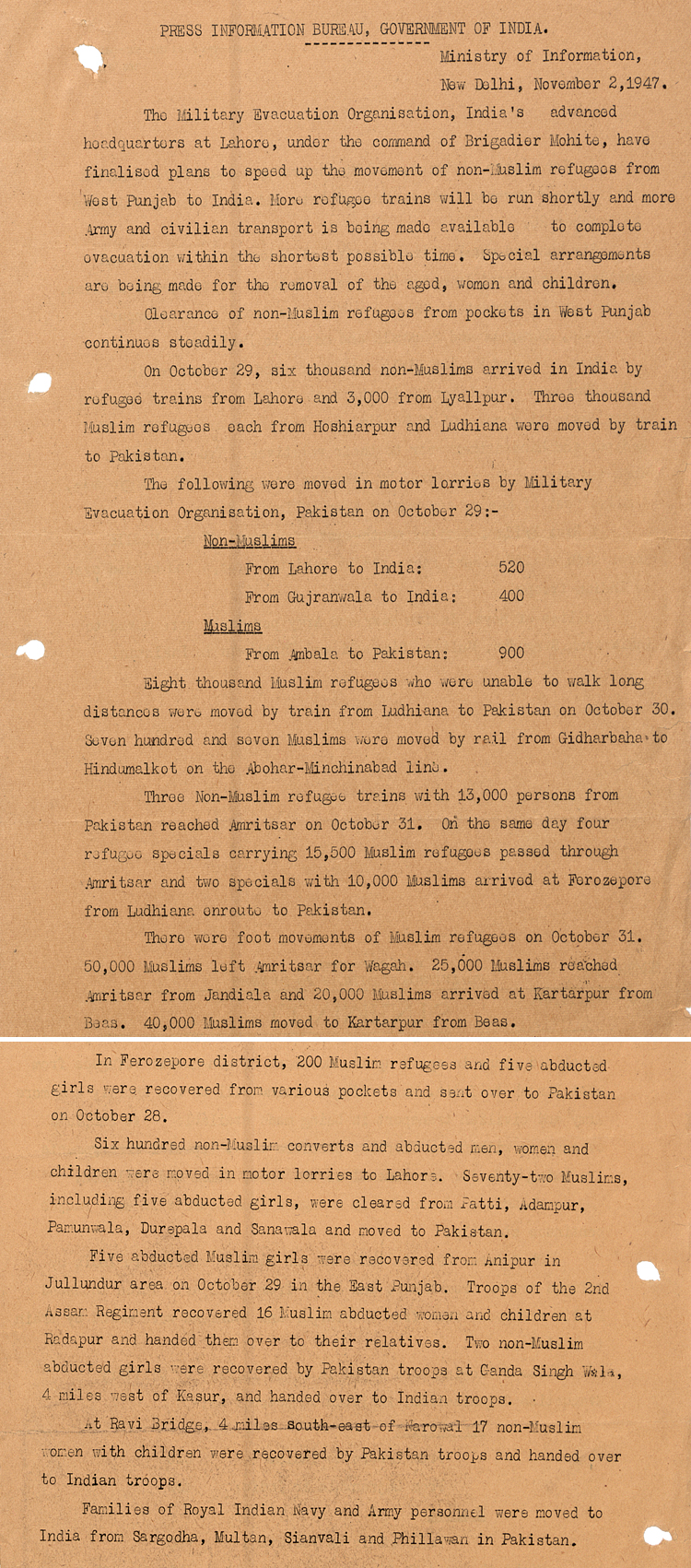 Official report by India's Ministry of Information on population movements, 2nd November 1947 (DO 133/60)