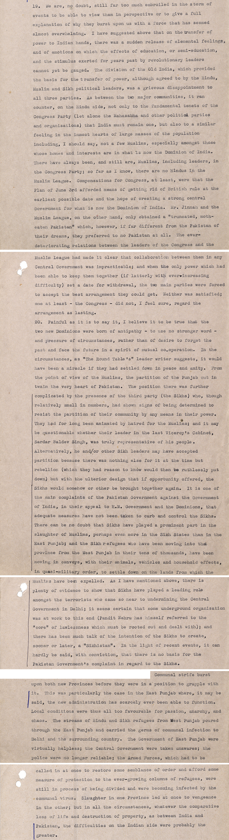 UK High Commissioner Terence Shone writing to the Secretary of State for Commonwealth Relations, 14 October 1947 (DO 142/259)