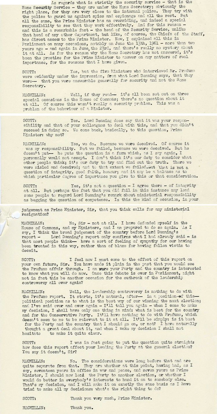 Extracts from a transcript of a telephone interview for the BBC Home Service with Harold Macmillan by Peter Hardiman Scott, 26th September, 1963. (DO 194/22)