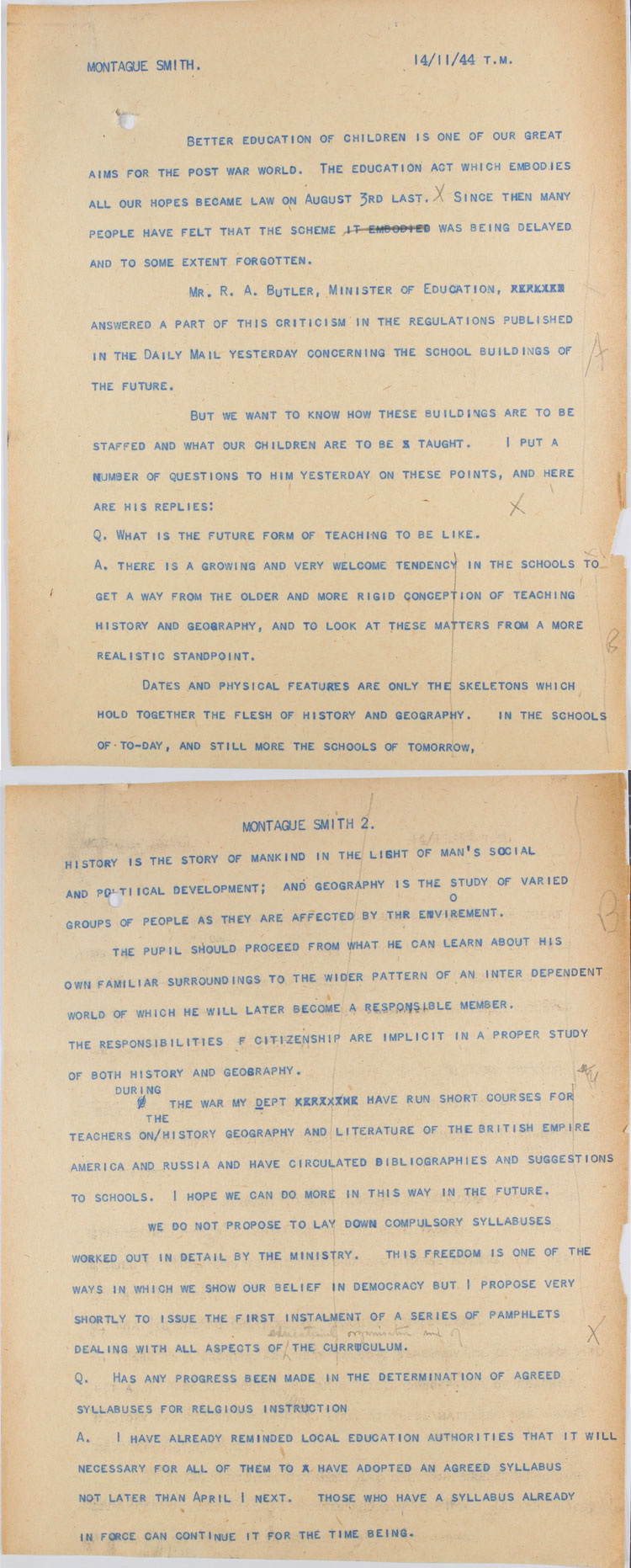 Extract from a transcript for an interview with RAB Butler and Richard Montague Smith, a reporter from The Daily Mail, 14th November 1944 (ED 121/202)