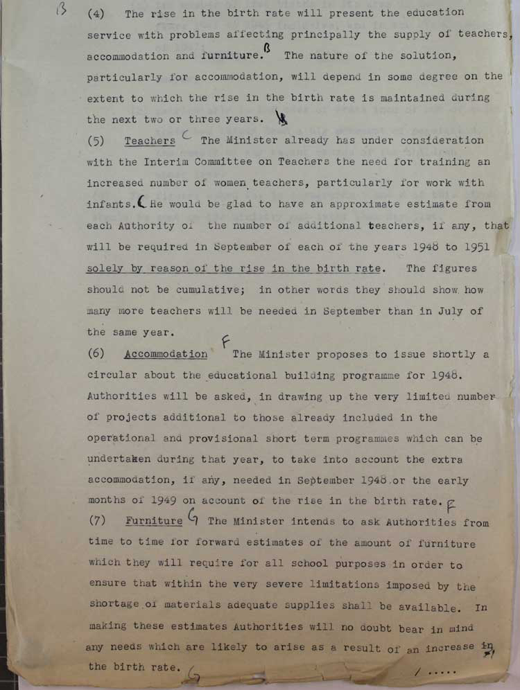 Extract from an Education Department draft circular on the impact of increased birth rate on schools, March 1947 (ED 147/99)