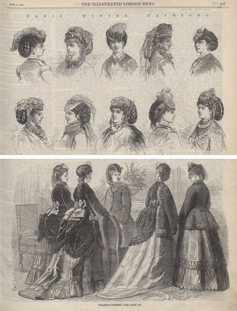 Paris winter fashions, hats and walking dresses, Illustrated London News, 1869 (ZPER 34/55)