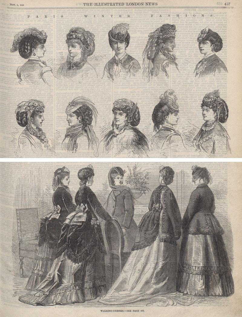 Paris winter fashions, hats and walking dresses, Illustrated London News, 1869 (ZPER 34/55)