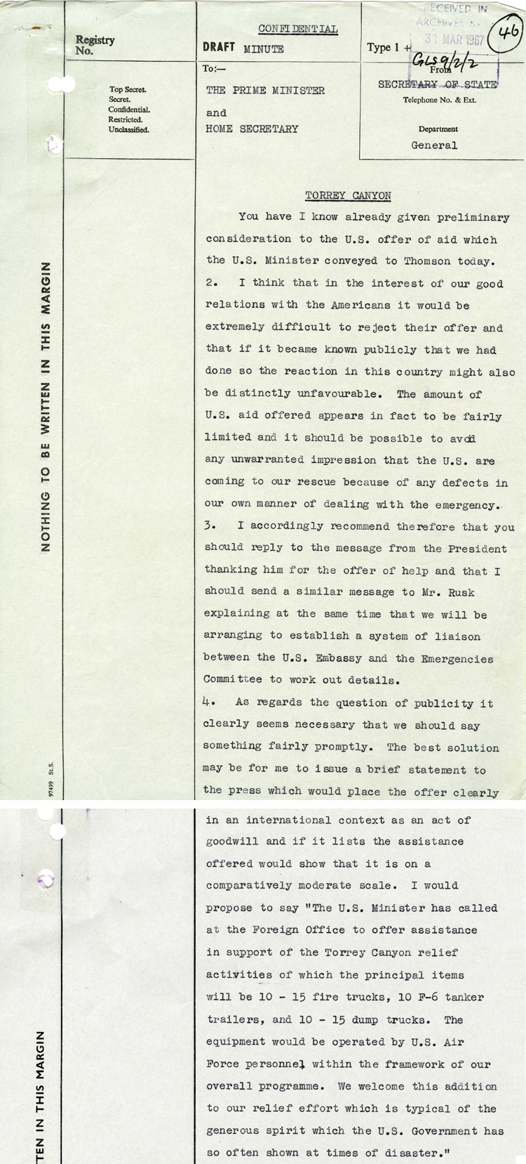 A minute from Foreign Secretary George Brown to Prime Minister Harold Wilson, March 1967 (FCO 14/320)