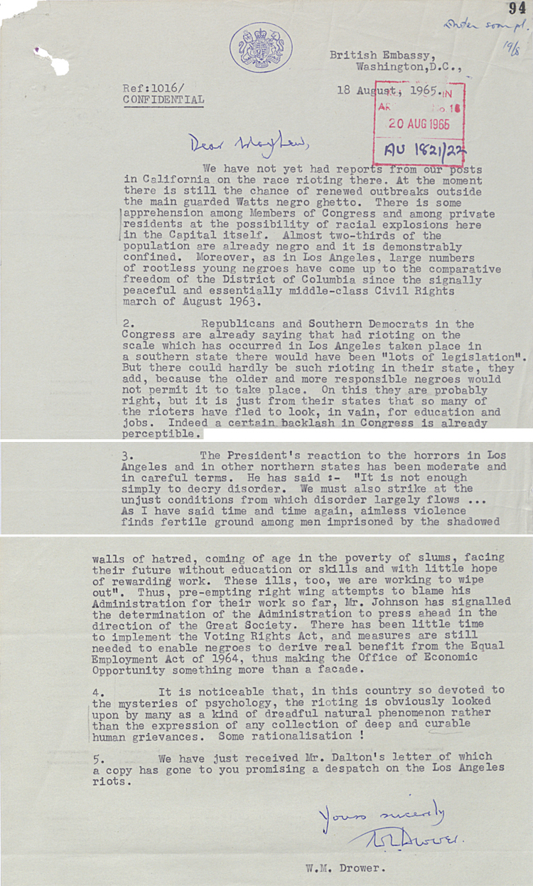 Letter from British Embassy Washington to Foreign Office on the reaction to California rioting, 18 August 1965 (FO 371/179611)