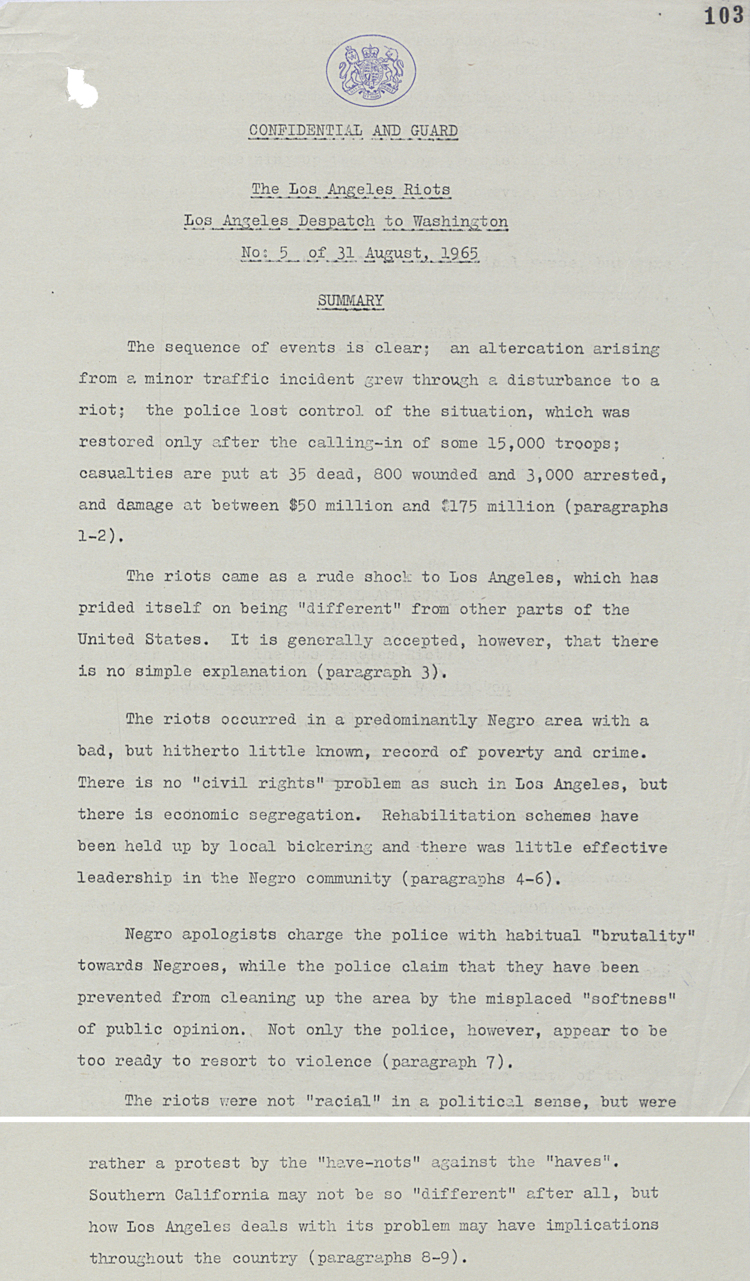 Despatch by British Consulate in Los Angeles summarising events of LA riots, 31st August 1965 (FO 371/179611)
