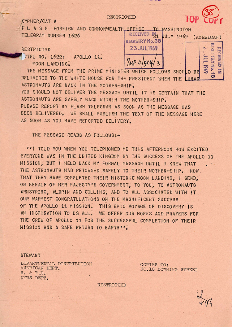 Telegram from the Foreign and Commonwealth Office to Washington, July 1969 (FCO 55/351)