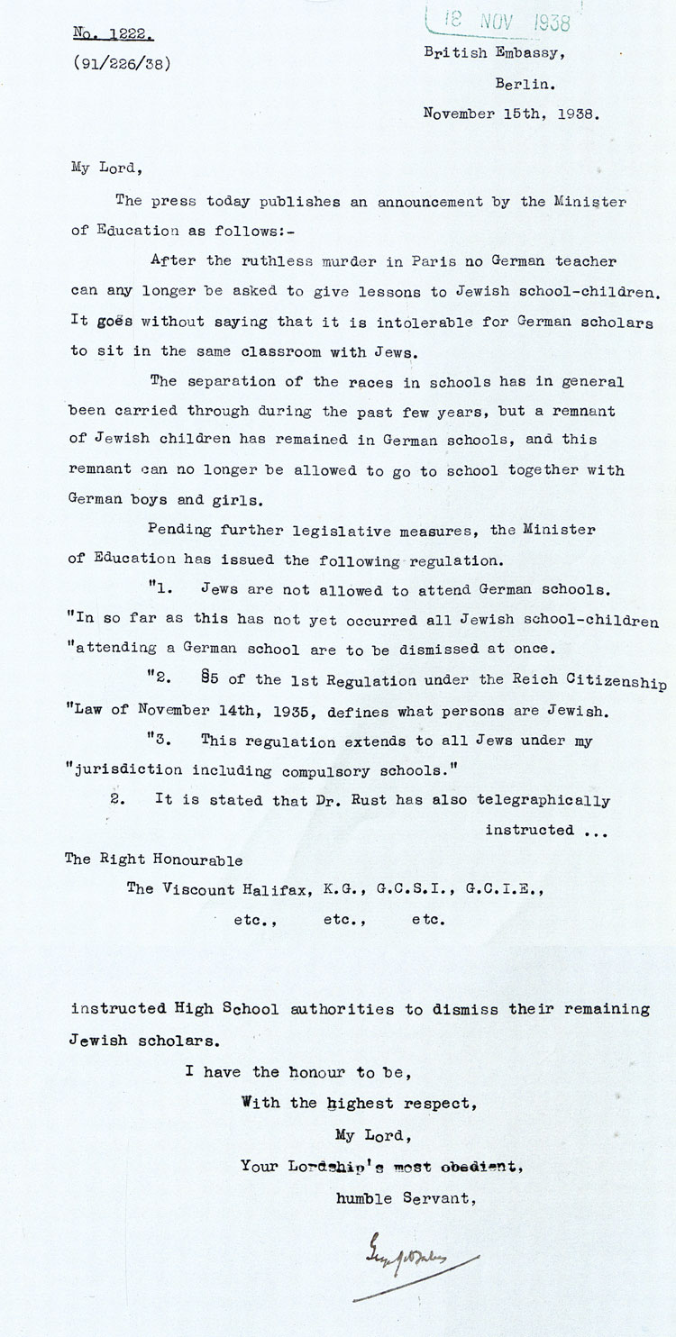 Letter from the British Embassy in Berlin to the British Foreign Office, November 15th, 1938, (FO 371/21637)