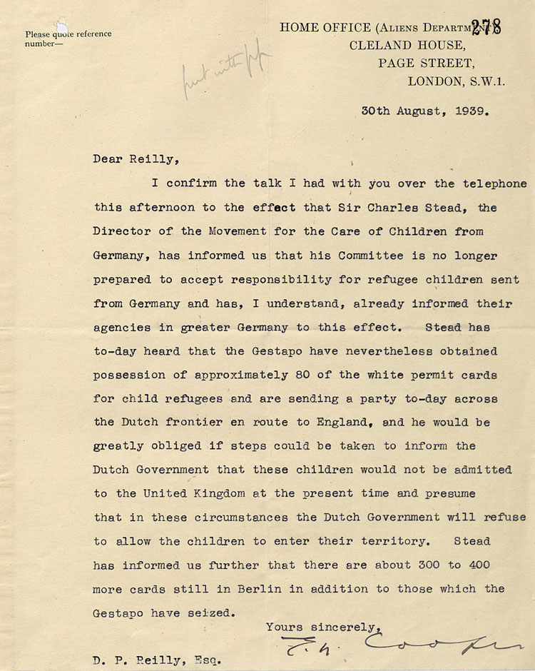 Letter from the Home Office, Aliens Department, 30th August, 1939, (FO 371/24085)