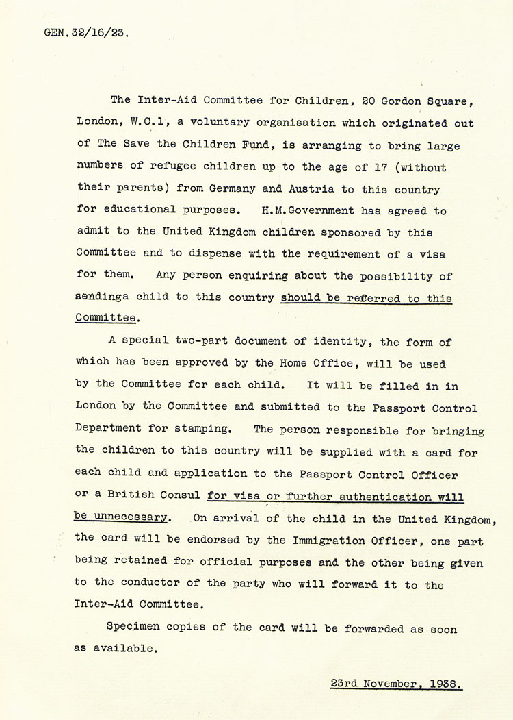 British Foreign Office circular dated 23rd November 1938 (FO 371/24085)