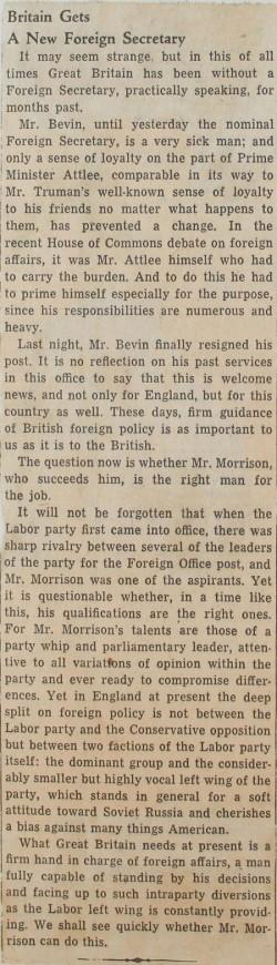 Image of Ernest Bevin resigns