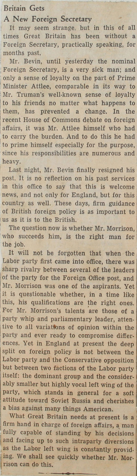 "Article from the Baltimore Sun newspaper called ""Britain a new Foreign Secretary"", 10th March, 1951, © Baltimore Sun (FO 371/90934)"
