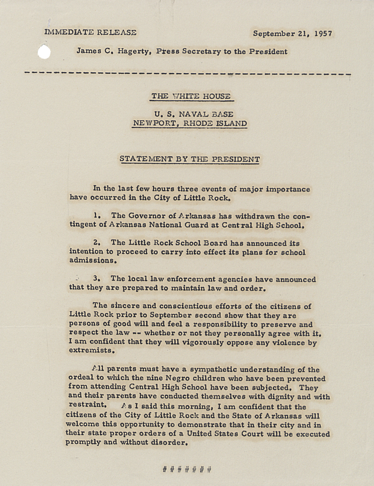 President Eisenhower issues a statement on Little Rock, September 21st 1957 (FO 371/126719)