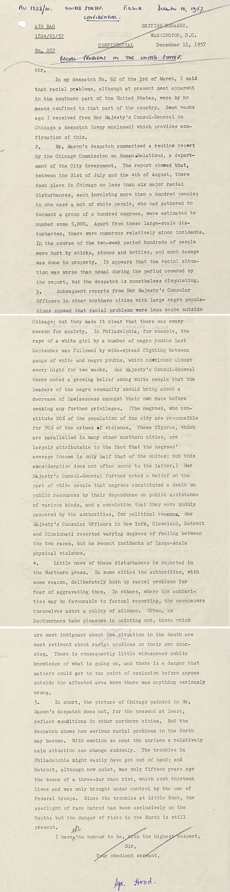 Letter on US Racial Problems from British Embassy in Washington to Foreign Secretary Selwyn Lloyd, December 11th 1957 (FO 371/126719)