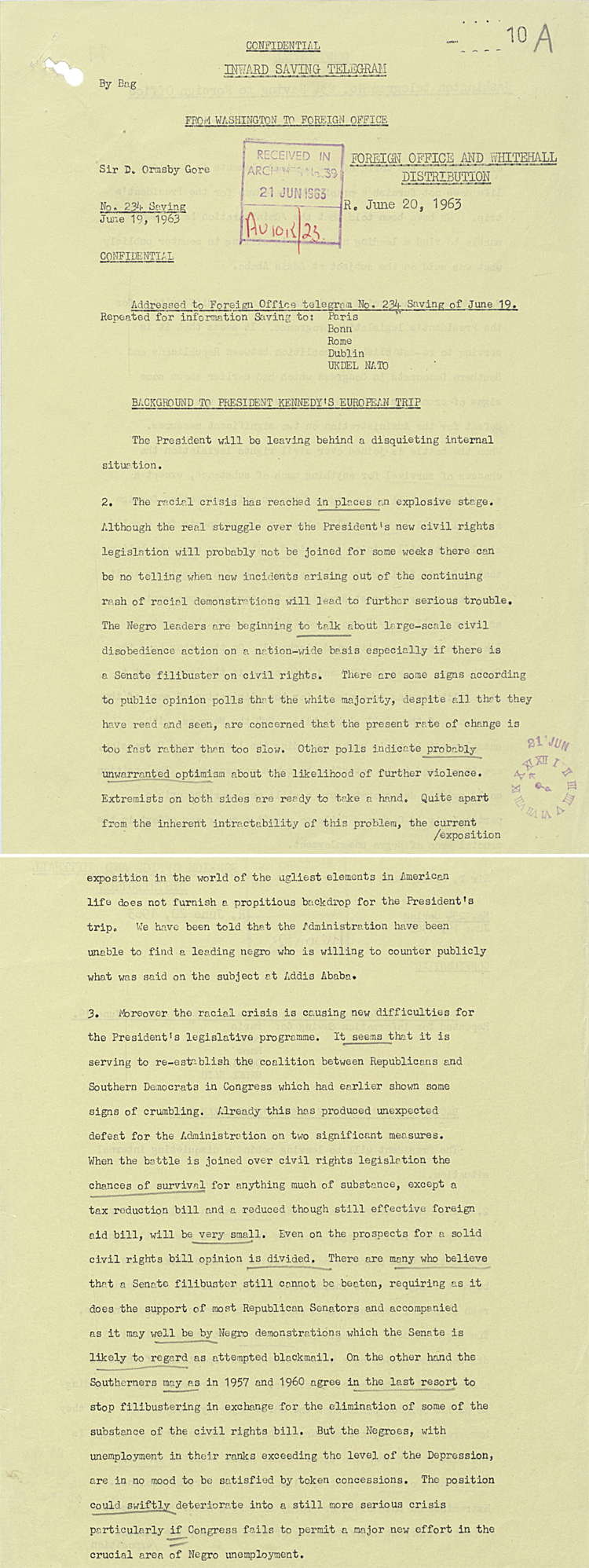 Telegram from UK Ambassador in Washington (David Ormsby Gore) to Foreign Office, 20th June 1963 (FO 371/168411)
