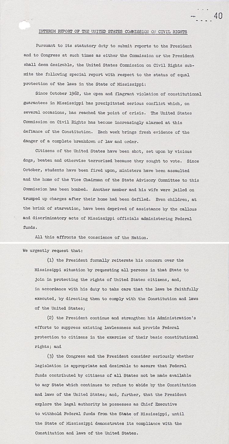 Interim report of US Commission on Civil Rights, 20th April 1963 (FO 371/168484)