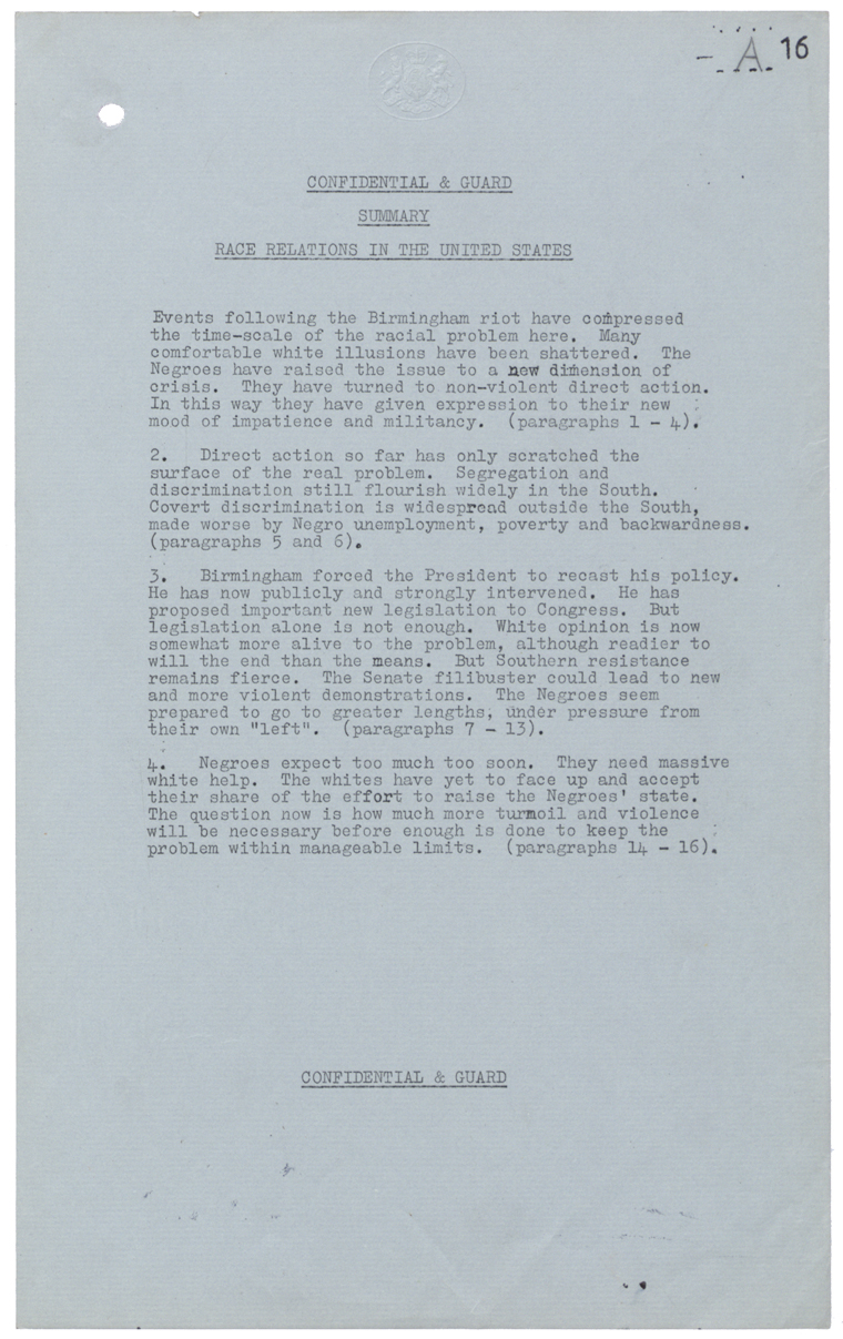 Letter from British Embassy in Washington to Foreign Office, July 29th 1963 (FO 371/168485)