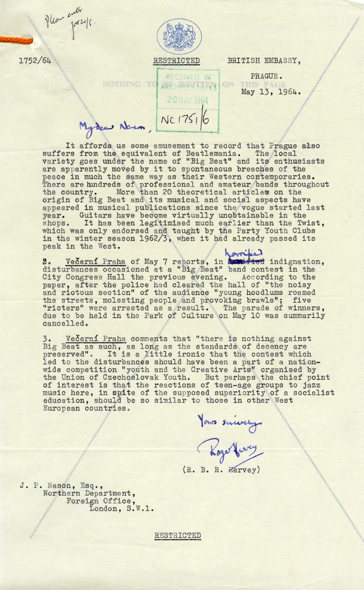 Letter from the British Embassy in Prague to the Northern Department of the Foreign Office in London, May 1964 (FO 371/177493)