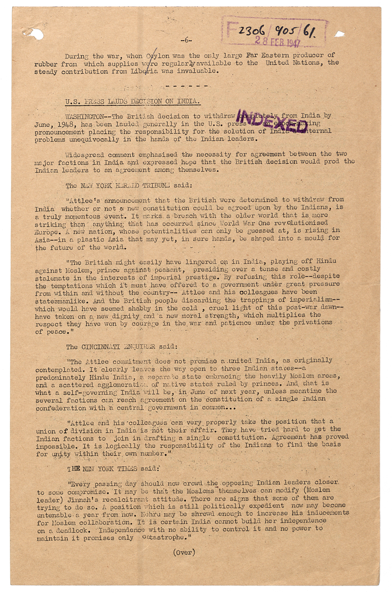 Round up of American press reaction to Britain's decision to leave India, 28 February 1947 (FO 371/63529)