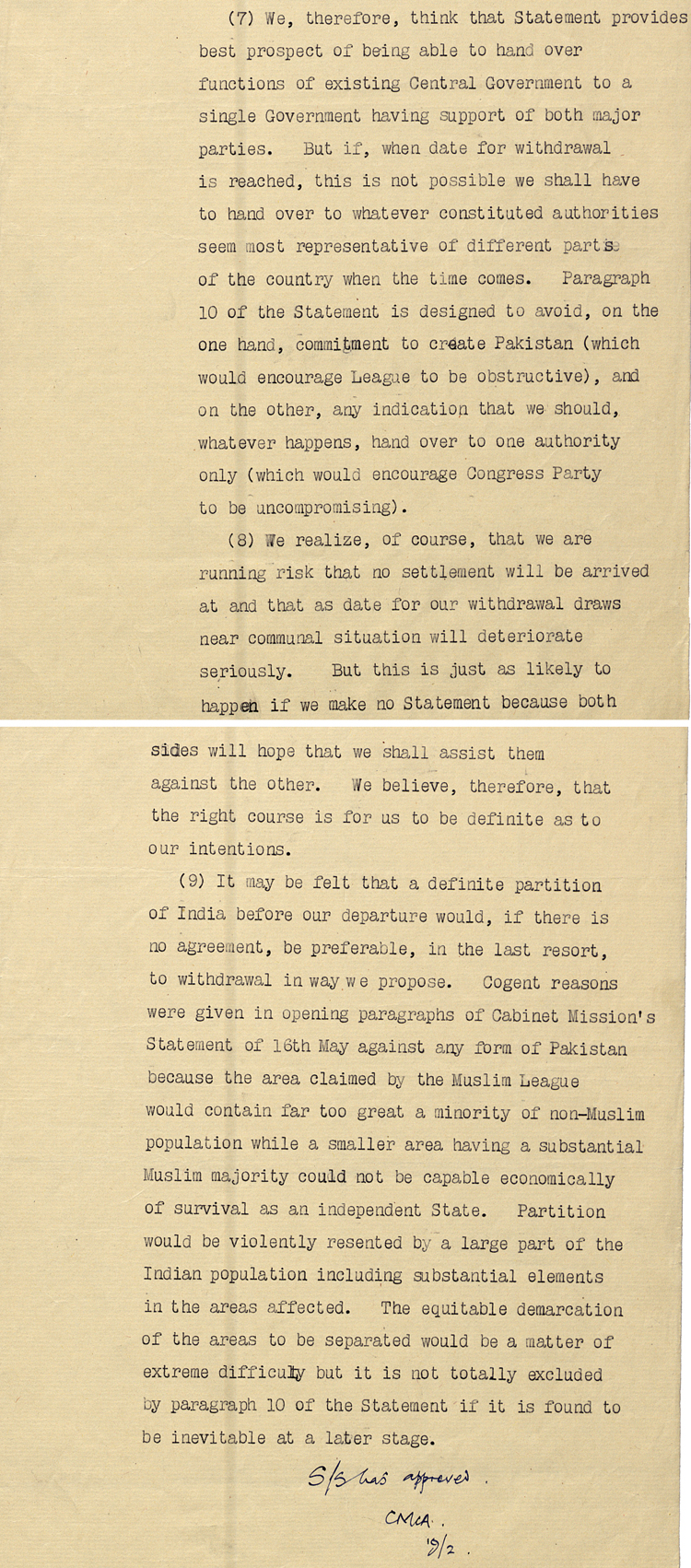 Secretary of State's comments on India policy for British Ambassador in Washington, 19th February 1947 (FO 371/63529)