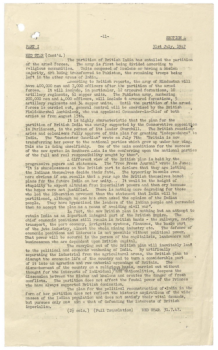 Translation of article from Red Star newspaper published in the Soviet Union, 31 July 1947 (FO 371/63567)