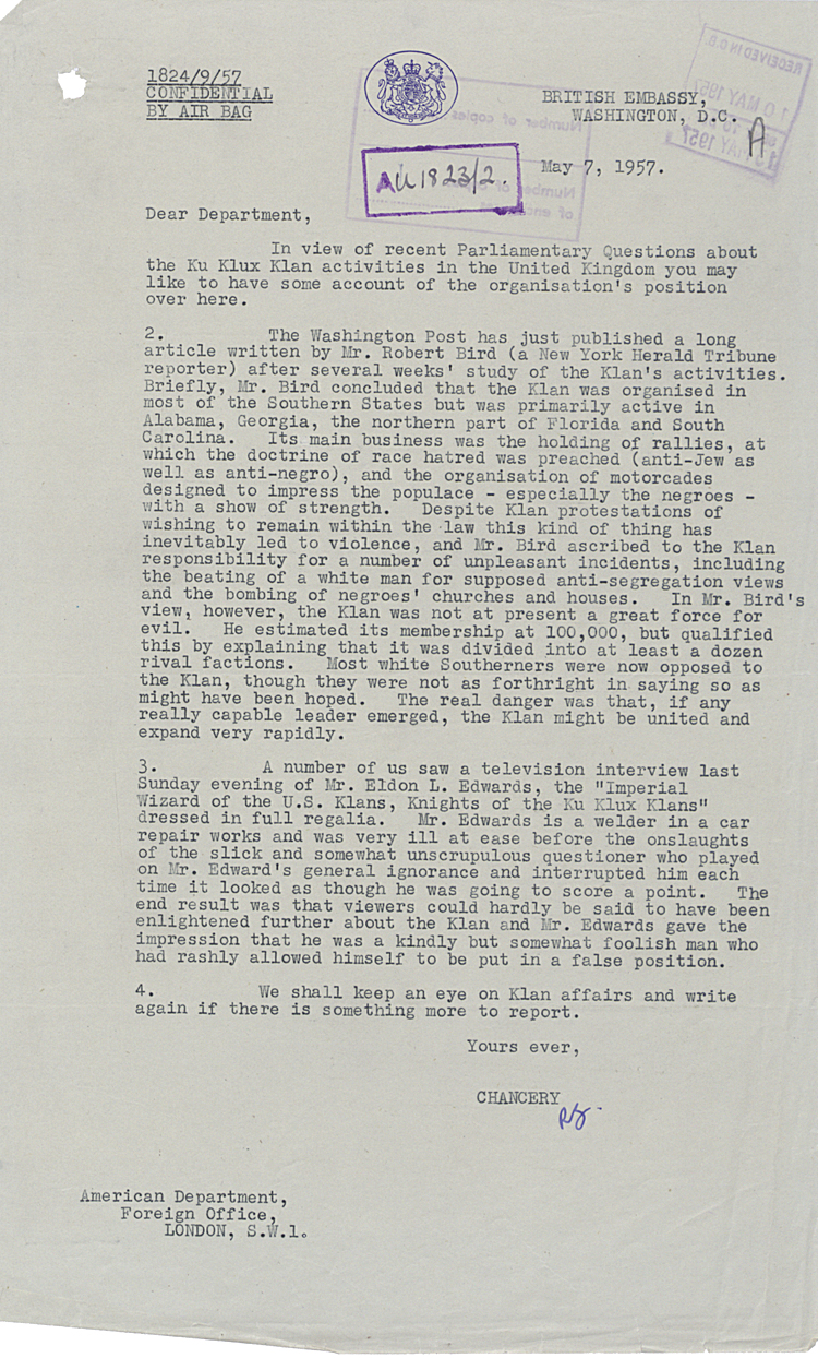 Letter from British Embassy Washington to Foreign Office on KKK activities, 7th May 1957 (FO 371/126719)