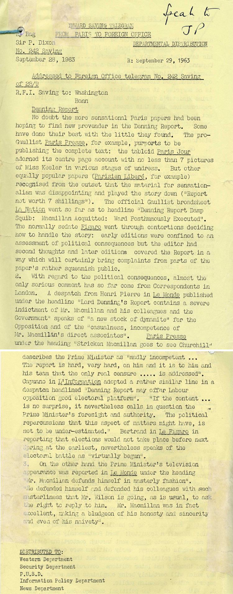 Telegram from the British Embassy in Paris to the Foreign Office about the publication of the Denning Report on the Profumo affair and its impact in the Parisian press, September 1963 (FO 953/2108)