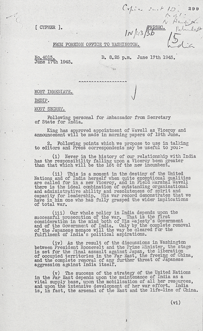 Telegram from Foreign Office to British Embassy Washington on the appointment of General Wavell as Viceroy of India, 17th June 1945 (FO 954/12B)