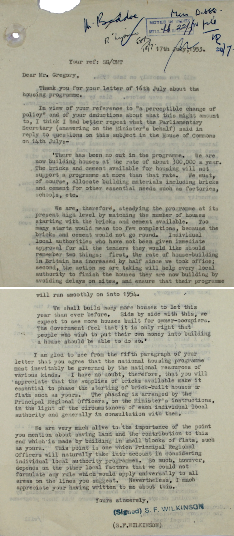 Letter from Mr. S. F. Wilkinson at the Ministry of Housing & Local Government to Mr. Gregory, head of a building company, 17th July 1953 (HG 101/812)