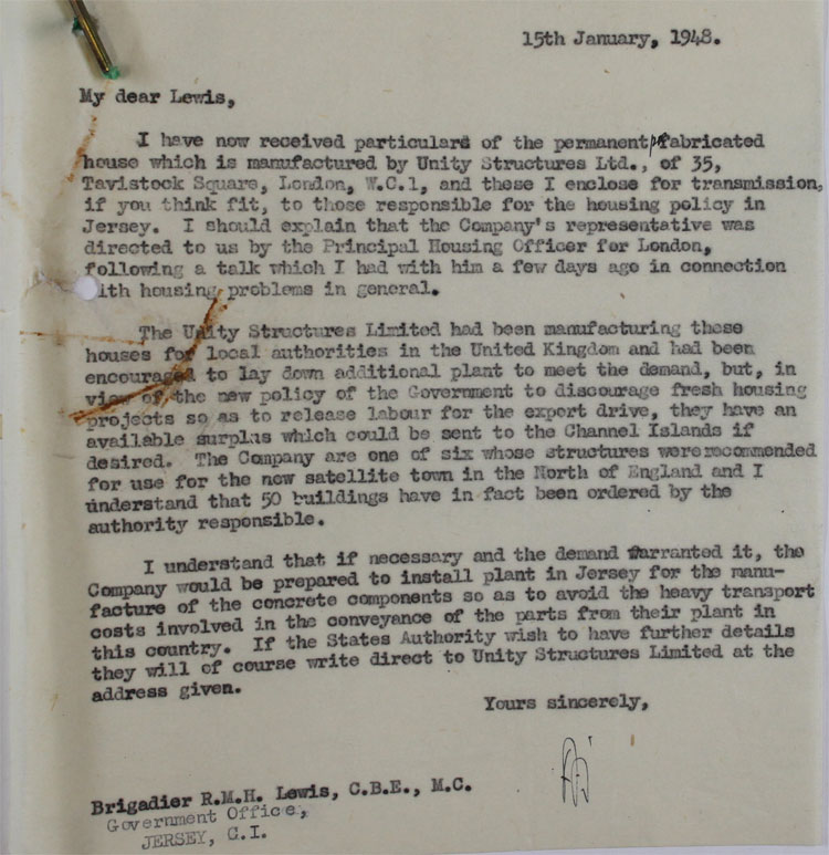 Letter from a Home Office official to the Government Office of Jersey, 15th January, 1948 (HO 45/22000)