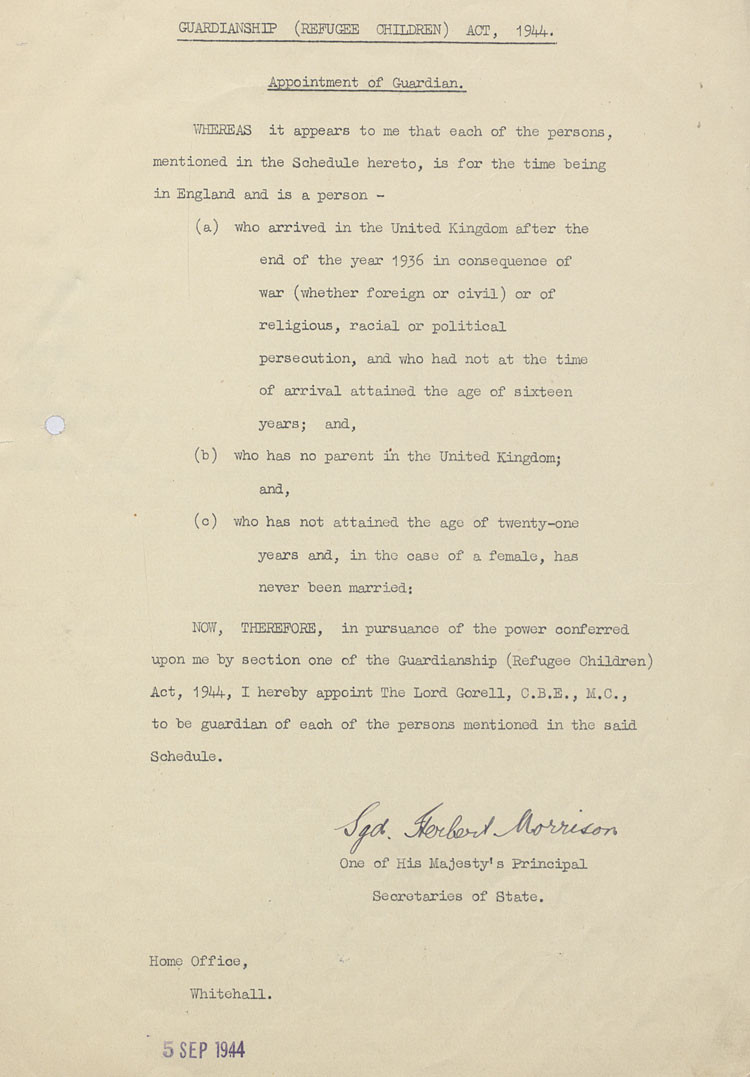 Home office document showing the terms of the Guardianship Refugee Children Act, whereby Lord Gorell was appointed as guardian to kinder children, 5th September 1944, (HO 45/22391)