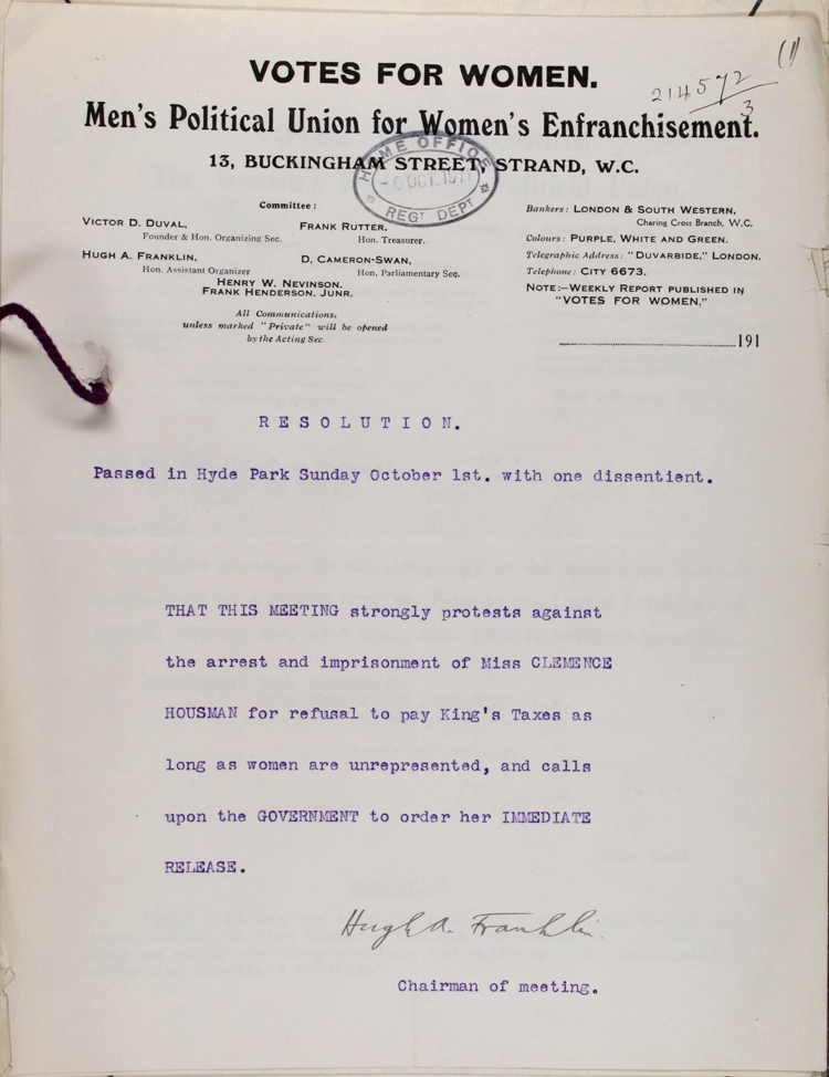 Protest letter to the Home Office from the Men's Political Union for Women's Enfranchisement, 1 October 1911 (HO 144/1169/214572)