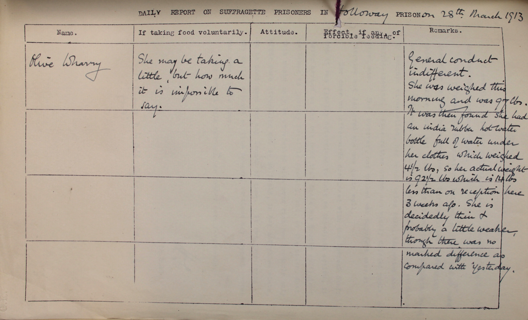 Prison report on Olive Wharry, 28th March 1913 (HO 144/1205221873)