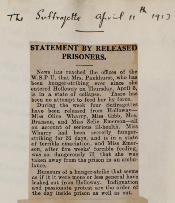 Article from 'The Suffragette', April 11 1913 (HO 144/1205/221873)