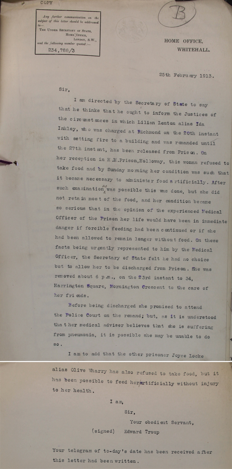 Letter from the Home Office to the Justices at Richmond, Surrey, 25th February 1913 (HO 144/1255/234788)