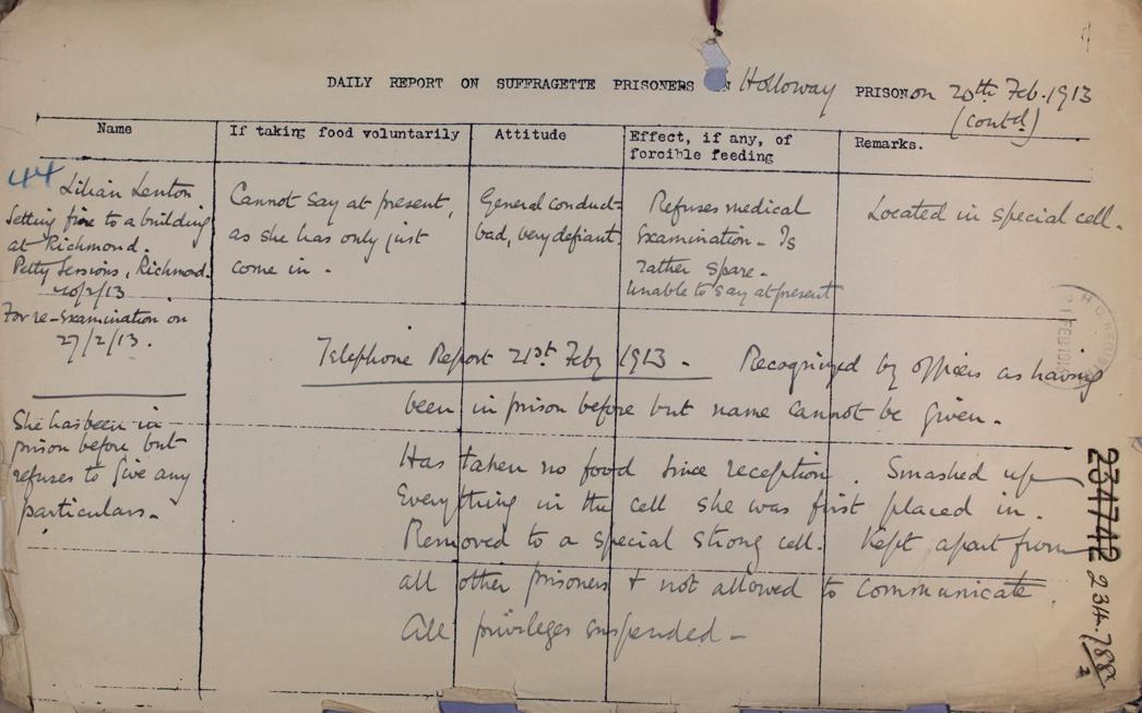 Prison report on Lilian Lenton, 20th February, 1913 (HO 144/1255/234788)