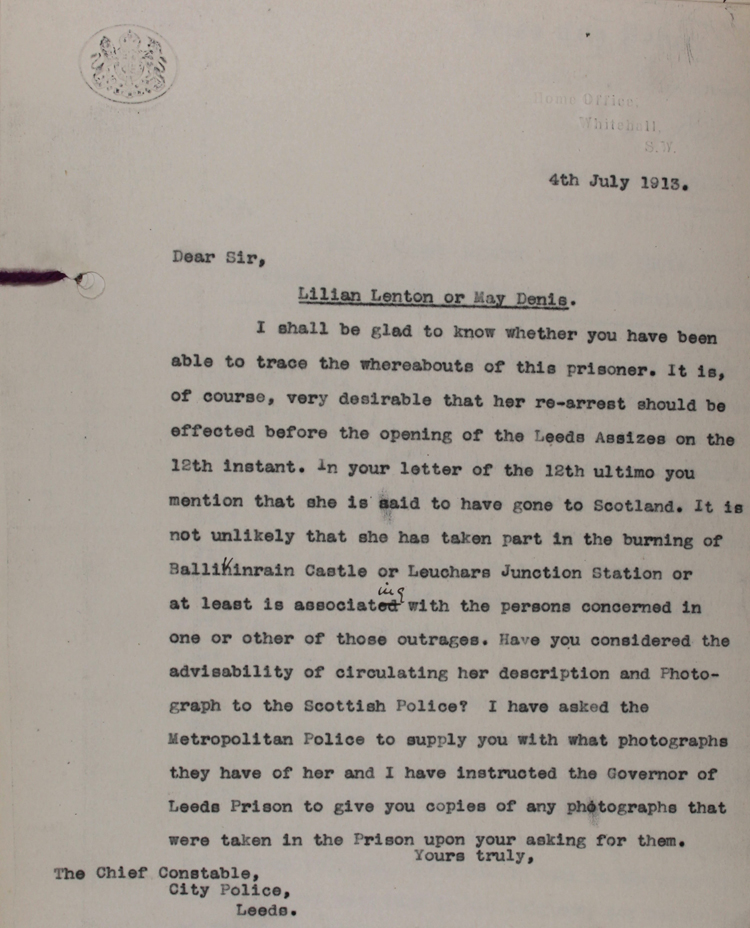 Letter from the Chief Constable of Leeds to the Home Office, 4 July 1913 (HO 144/1255/234788)