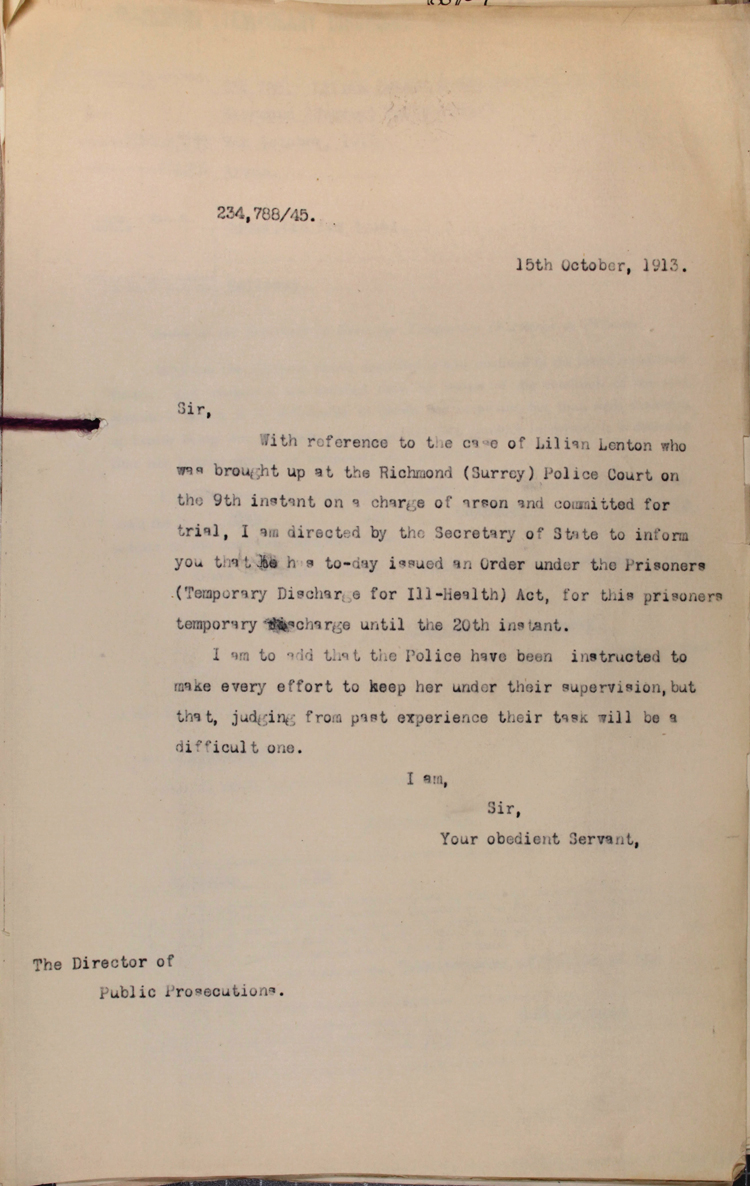 Letter to the Director of Public Prosecutions from the Home Office, 15 October 1913 (HO 144/1255/234788)