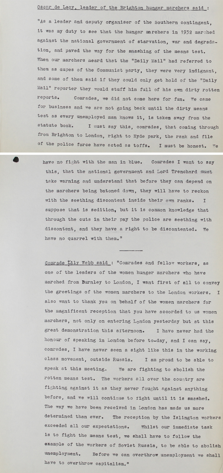 Extracts from transcript of shorthand notes taken by Police Sergeant A. Davies at the National Hunger Marcher's demonstration in Hyde Park, 27th October 1932 (HO 144/18186)