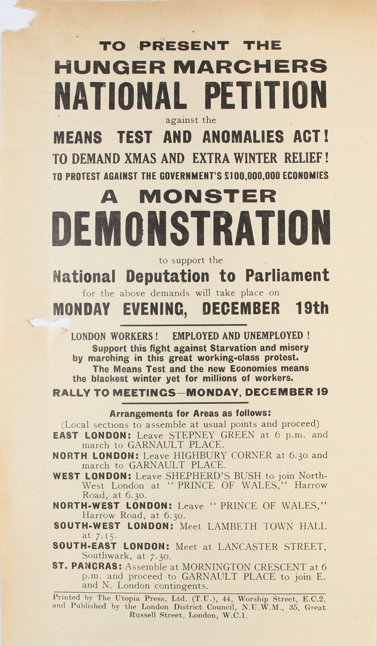 Protest pamphlet on hunger marches against the Means Test and Anomalies Act, 19th December 1932 (HO 144/18187)