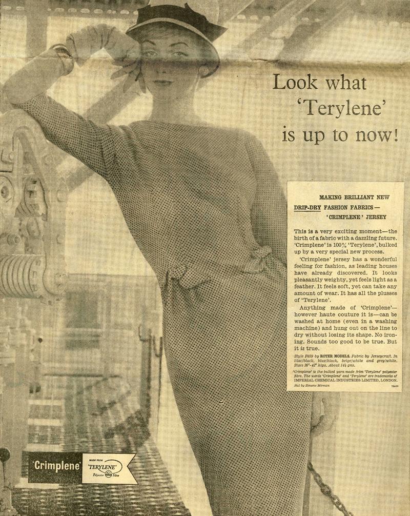 Advertisement for crimplene clothing from The Observer, 25th September 1960 (HO 244/384)