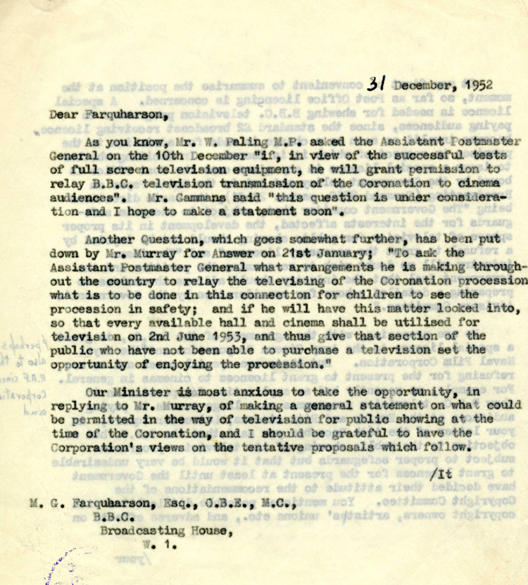 Extract from a letter to the BBC from the Overseas Telecommunications Department, 31st December 1952 (HO 256/323)