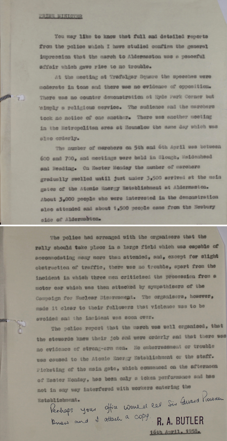 Note from the Home Secretary R. A. Butler to Prime Minister Harold Macmillan, 16th April 1958 (HO 325/149)
